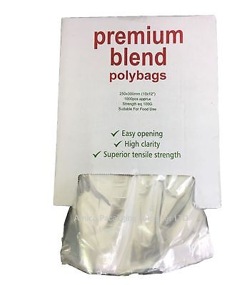 """1000 Clear Plastic Polythene Bags Strong Packing Poly Bags 10""""x15""""  100Gauge"""