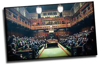 Banksy Monkey Parliament Painting 20x12 Giclee Canvas Picture Art
