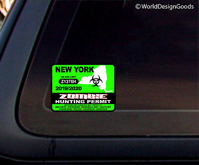 NEW YORK US Zombie Hunting Permit 2013 Outbreak Response Team Car Decal/Sticker
