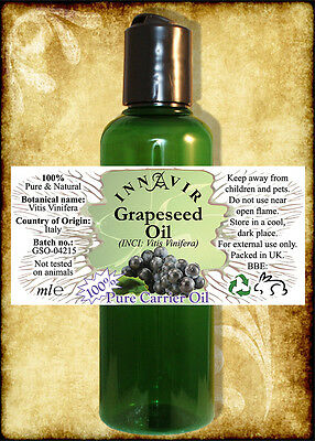 100% Pure Grapeseed Carrier/Massage Oil 200ml, 100ml, 50ml, 10ml+10% FREE