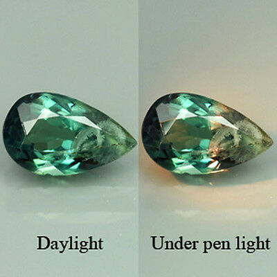 EXCELLENT 0.71 Cts.NATURAL COLOR CHANGE ALEXANDRITE GEMSTONE  VDO PEAR.