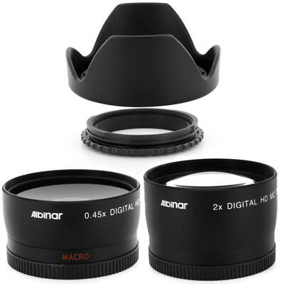 58mm Reversible Hood + Wide Angle + Telephoto Lens for Canon EF-S 18-55mm DSLR