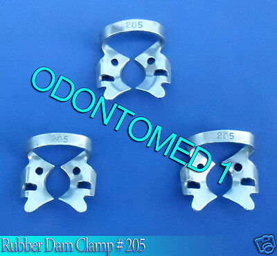 6 Endodontic Rubber Dam Clamp #205 Surgical Dental Instruments