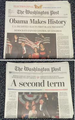 Washington Post 2 Papers Obama Wins Election FINAL(not commemorative) 2012&2008