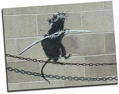 Banksy In Detroit Tight Rope Walking Rat Giclee Canvas Picture