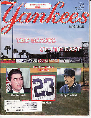 NEW YORK YANKEES BASEBALL MAGAZINE Apr 7 1988 SPRING TRAINING SPECIAL ISSUE OOP