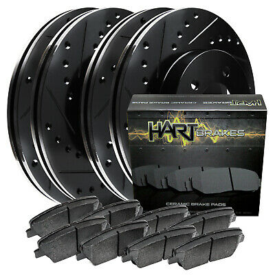 [FRONT+REAR KIT] Black Hart *DRILLED & SLOTTED* Brake Rotors +Ceramic Pads C2532