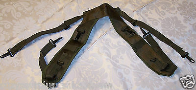"NEW 1968 US OD Green Nylon H Suspenders 52""L max adjustable each X9020"