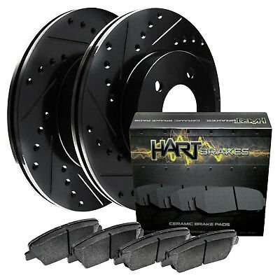 [FRONT KIT] Black Hart *DRILLED & SLOTTED* Disc Brake Rotors +Ceramic Pads F2829