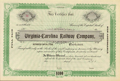 Virginia  Carolina Railway > railroad company stock certificate south share