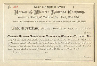 Norfolk and Western Railroad stock certificate Southern