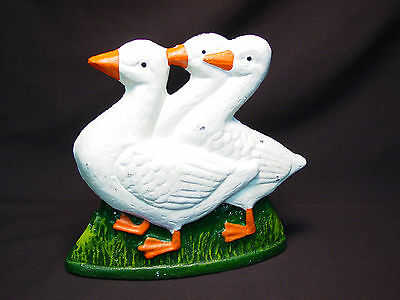 Vtg Repro Cast Iron Doorstop Three Geese Goose Bird Metal Bookend Reproduction