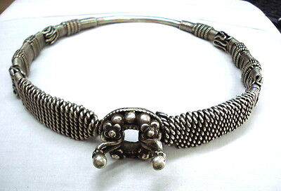 vintage antique collectible tribal old sterling silver neckring necklace choker