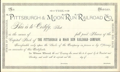 Pittsburgh & Moon Run Railroad stock certificate share