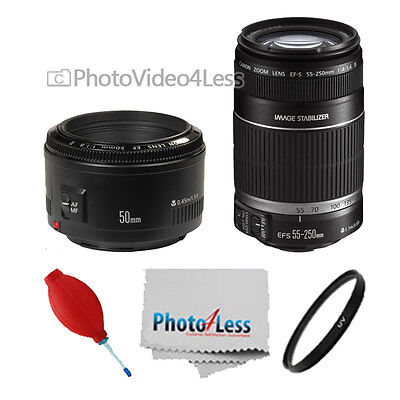 Canon 50mm 1.8 II Lens + Canon EFS 55-250mm f/4.0-5.6 IS II Complete Lens Kit
