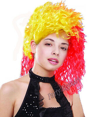 New Popular women's Red & Yellow Cindy Lauper costume wig fancy dress party-AU