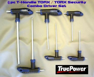 6Pc T-Handle Star Drive/torx Security Combo Driver Set