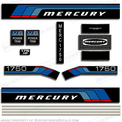Mercury 1976 175hp Outboard Decal Kit -Discontinued Decal Reproductions in Stock