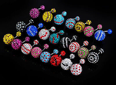 Lot24pcs  Double Full Crystal Gems Navel Ring Belly Ball 14mm NEW Mulit colors