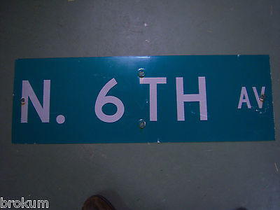 "Vintage ORIGINAL N. 6TH AV STREET SIGN 36"" X 12"" WHITE LETTERING ON GREEN"