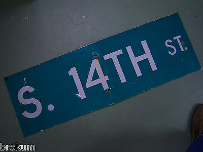 "Vintage ORIGINAL S. 14TH ST. STREET SIGN 36"" X 12"" WHITE LETTERING ON GREEN"