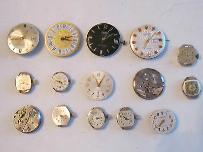 Lot Of (15) Vintage Watch Movements: Gruen, Timex, Baroness, More - Parts Only -