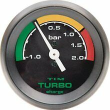 TIM Turbo Boost Gauge 2 Bar Black Face Dial 52mm   NEW