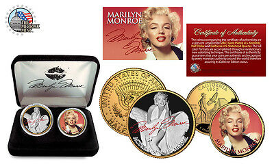 2 colored сoins MARILYN MONROE HOLLYWOOD SUPER STAR Finished in 24k gold token