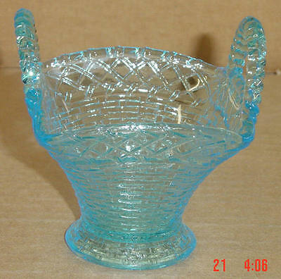 EAPG BLUE DOUBLE HANDLED BASKETWEAVE BASKET TOOTHPICK CO C1890