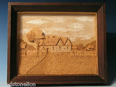 Fine Antique English Victorian Cork Diorama Shadowbox Early 20Th Century