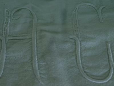 "vintage french linen sheet drapes curtains monogrammed AC 4"" tall"