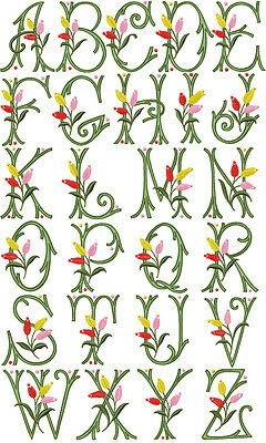"ABC Designs Tulip Kisses Font Machine Embroidery Designs 4""x4"" Hoop"