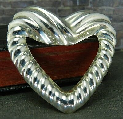 Mexico Silver - Large Sterling Silver Heart Pin/ Brooch