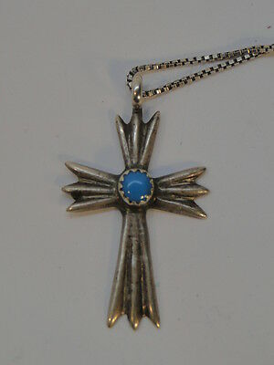Vintage Turquoise Sterling Silver Cross Necklace Signed Ht Box Link Chain