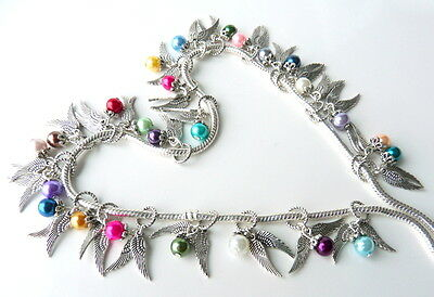 Guardian Angel Wings Charm Bead with Pearl Choice for european bracelet necklace