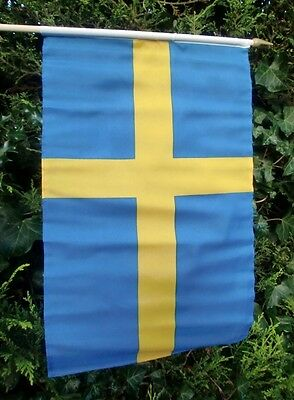 """SWEDEN LARGE HAND WAVING FLAG 18"""" X 12"""" WITH 24"""" POLE flags SWEDISH STOCKHOLM"""