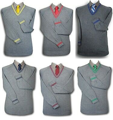 "Grey WOOLLEN School Uniform 'V' Neck Jumpers - 6 Trim Colours - Size 36"" - 48"""
