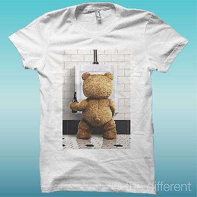 "T-Shirt "" Ted "" Orso Bear Beer Bianco The Happiness Is Have My T-Shirt New"
