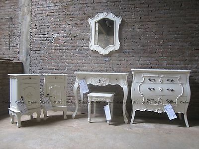 White or cream  6 piece Rococo Bedroom furniture set Dressing table bedsides