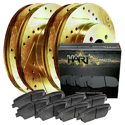 [FRONT+REAR KIT] Gold Hart *DRILLED & SLOTTED* Brake Rotors + Ceramic Pads C2479