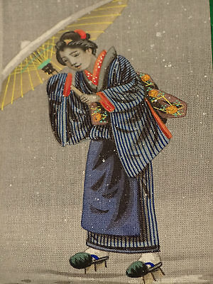 Japanese Antique Mininature Painting On Slik Noble Lady Museum Meiji Period