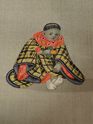 Japanese Antique Mininature Painting On Slik Noble Child Boy Museum Meiji Period