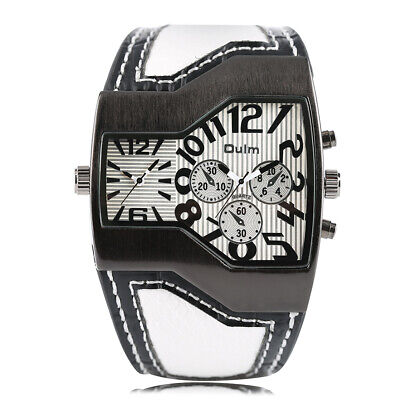 OULM Military Army Two Time Zones Movements Watch Leather Cool Boys Sports Mens