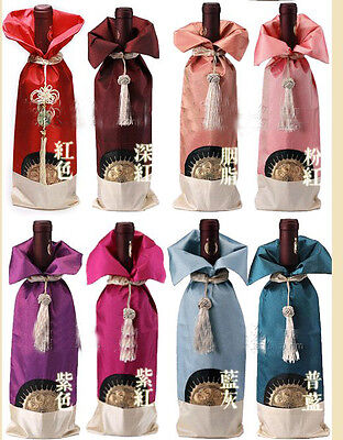 Wholesale20pcs Chinese Handmade Classic Embroidered Style Silk Wine Bottle Cover