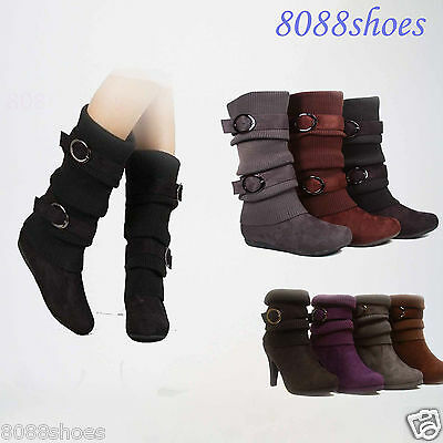 Sweater Top Low Heel Ankle Mid-Calf Women's  Boot Shoes 4 Colors 5 - 10 NEW
