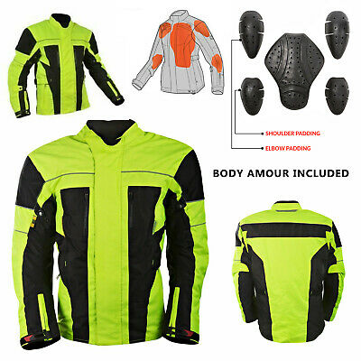 Men's Reflective Hivis Black Yellow Motorcycle Jacket Textile Armour Motorbike