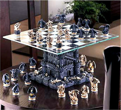 A Must Have for Collectors & Chess Wizards**BLACK TOWER DRAGON CHESS SET **NIB