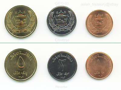 Afghanistan 3 Current Coin Set 1,2,5 Afghanis 2004 Uncirculated Shiny Unc