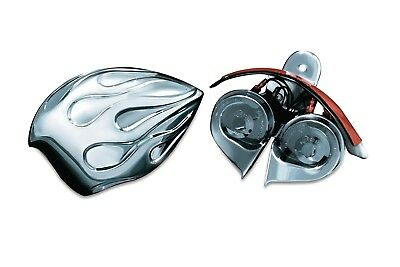 Kuryakyn 7298 Chrome Flame Horn Cover & Wolo Horn Harley Cowbell & Waterfall