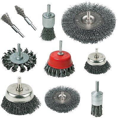 ROTARY WIRE BRUSHES, WHEELS, TWIST KNOT, CUP, DE - CARB, 22mm 50mm 75mm 100mm